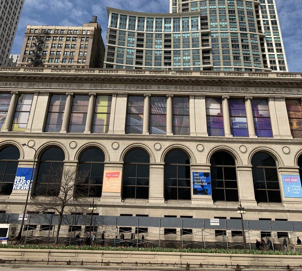 Chicago Cultural Center pedestrian canopy scaffold 2