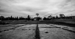 Overgrown basketball court