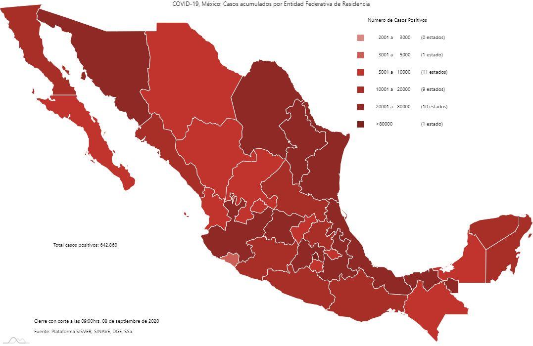Mapa de casos Covid-19 en el país