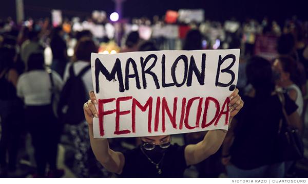 cartel que acusa a Marlon B. como feminicida