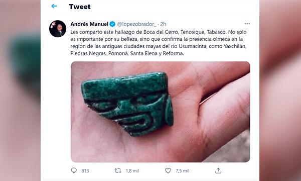 Tweet del presidente de México mostrando una cabeza olmeca de jade