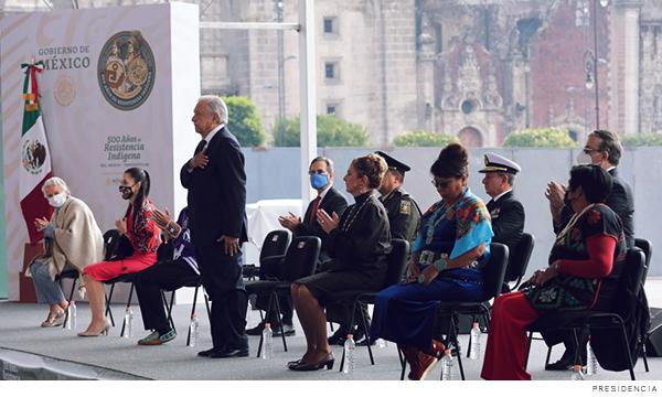 Amlo durante la celebración de la ceremonia 500 años de resistencia indígena; 1521, México-Tenochtitlán