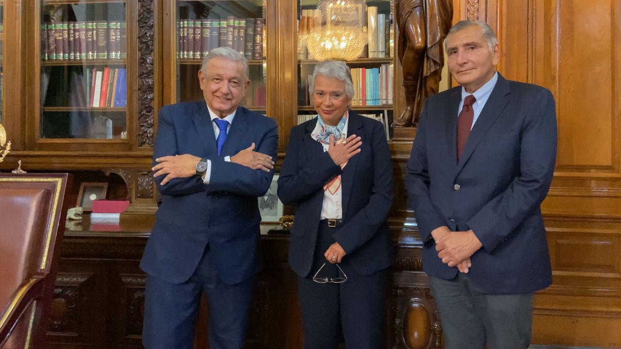 Olga Sánchez Cordero, Adán Augusto López Hernández y el presidente López Obrador