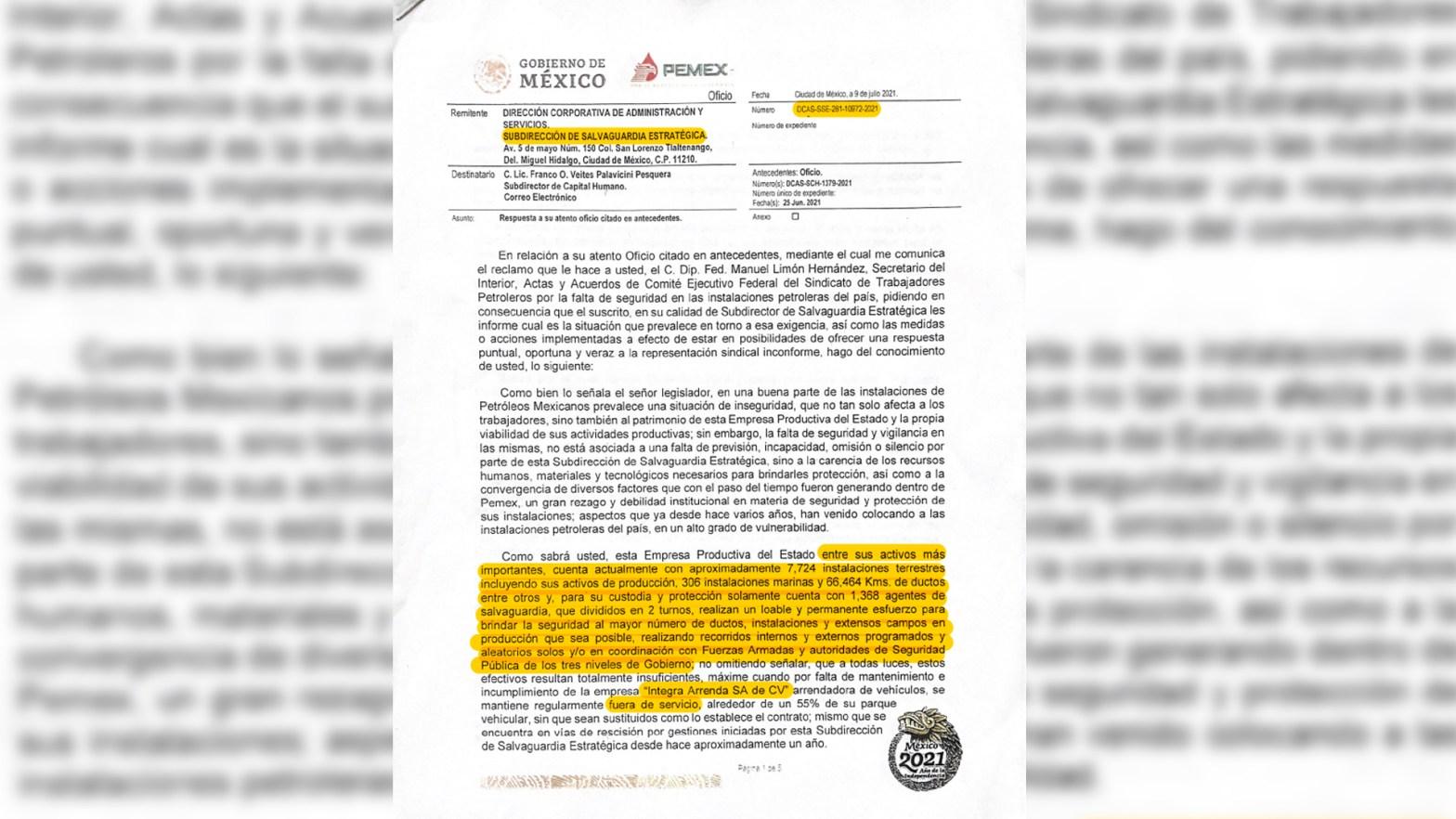 """documento donde se detalla que Petróleos Mexicanos se encuentra en """"un alto grado de vulnerabilidad"""" ante el crimen organizado"""