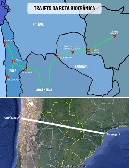 Quem chega antes a Antofagasta? Paraná ou Mato Grosso do Sul?