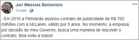 Bolsonaro quer Petrobras fora da F1