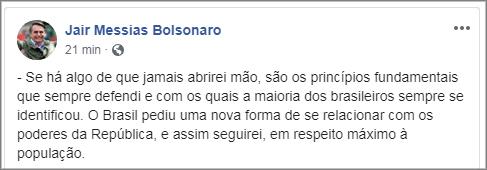 Bolsonaro diz que não vai mudar seu jeito de governar
