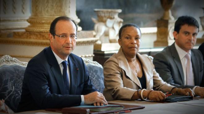 François Hollande, Christiane Taubira et Manuel Valls en Conseil des Ministres