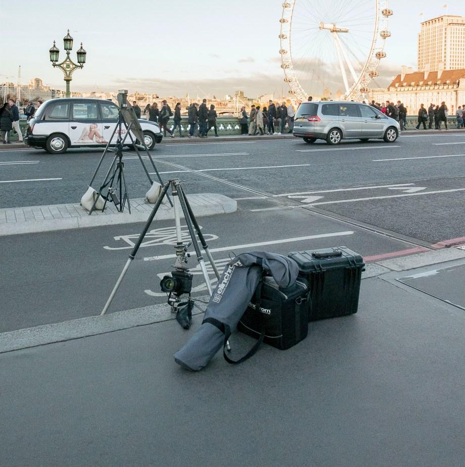Soloman Production shot of setup on Westminster Bridge 28th November 2016