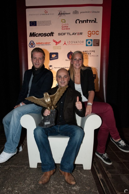 Raymond Snippe, Erik Schreuder en Patty Winder van Nuclear Dawn-publisher Iceberg Interactive