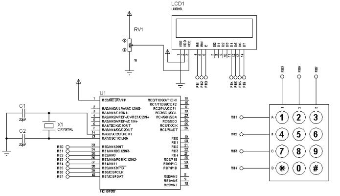Teclado y LCD con PIC