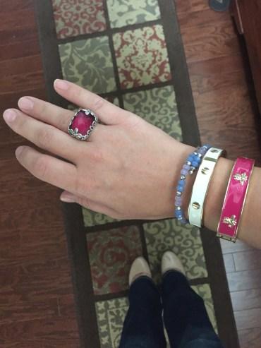 Silpada fuchsia and silver ring, Alex and Ani light blue beaded bracelet, Charming Charlie white and gold bracelet, consignment chop fuchsia bracelet, Zigi Soho nude pumps from DSW