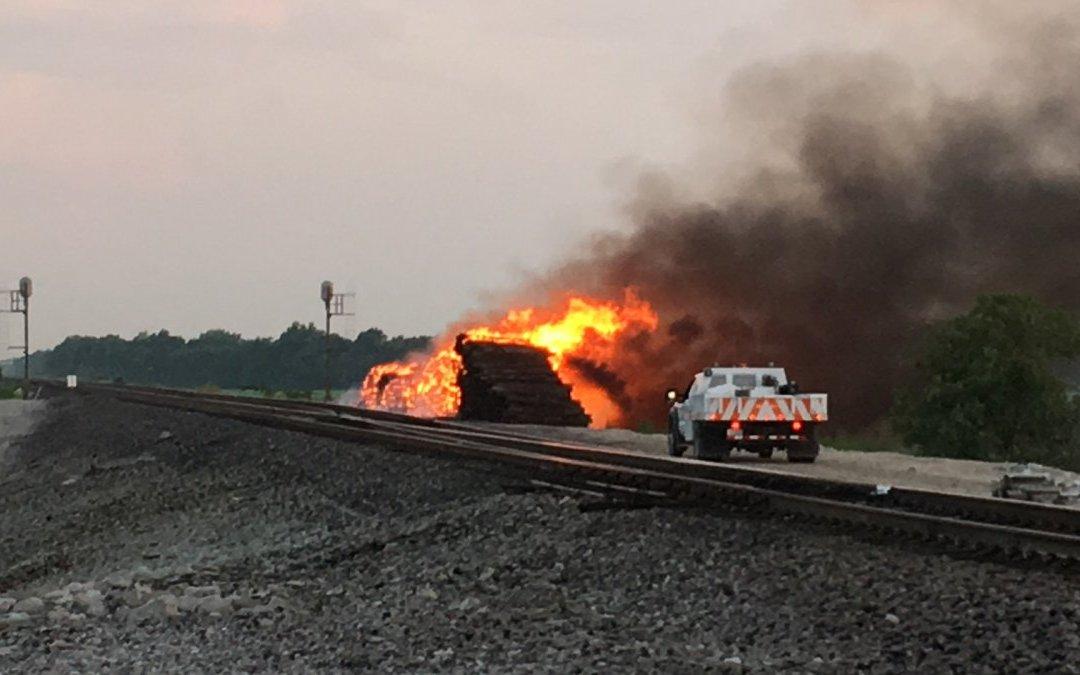 Fire Video of Creosote Railroad Ties vs F500 EA