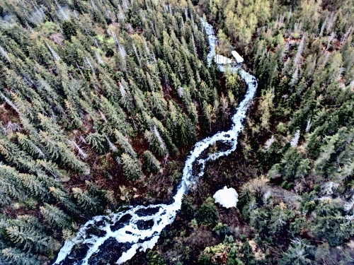 A glacier fed stream viewed via helicopter in Kachemak Bay