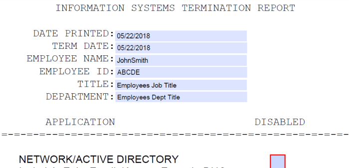 Termination PDF Checklist autogenerated via Powershell