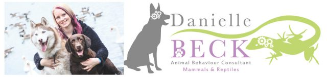 Danielle Becks logo. It's a rectangle with a white background. To the left is a picture of Danielle, a lady with blonde and purple hair, with two of her dogs. Diefa a red and white husky and Holly a chocolate labrador. To the right is her main logo which has a the shadoe of a dog with cogs in it's head and a green lizard with the same cogs on the right. It's tail goes through the words 'Danielle Beck, animal behaviour consultatnt, Mammals & Reptiles, written in grey and purple