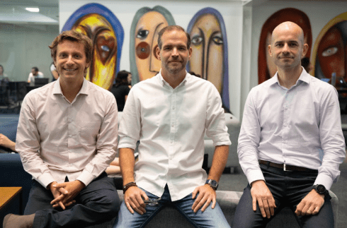 The three EBANX founders, Voigt, Del Valle and Ruiz