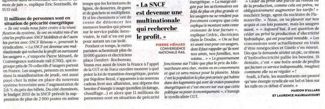 Convergence Nationale Rail à Paris le 29 janvier