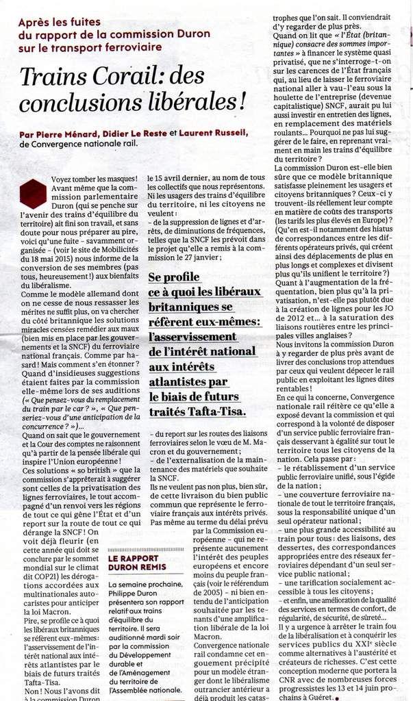 La Tribune parue dans L'Humanité du 22 mai 2015 - Pour une lecture et une impression plus faciles, télécharger le texte avec le lien suivant