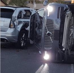 Uber driverless flips
