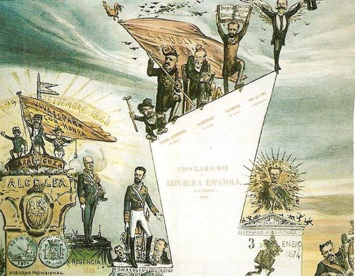 Caricatura de las etapas de la Primera República Española