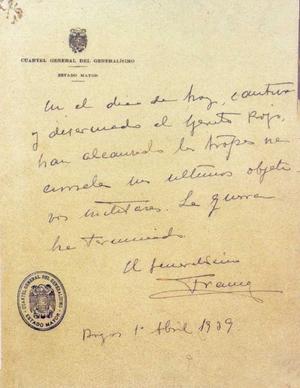 Marco Ultimo Parte de Guerra 1 abril 1939 FNFF