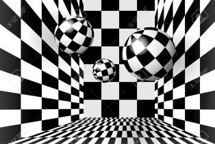 10257599-magic-balls-in-checkered-room-stock-vector-chess-checks-floor