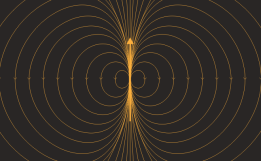 An electret comprises a pair of equal and opposite charges separated by a small distance. The resulting dipole field is that which dominates at large distances. The magnetic field around a magnet is qualitatively similar.