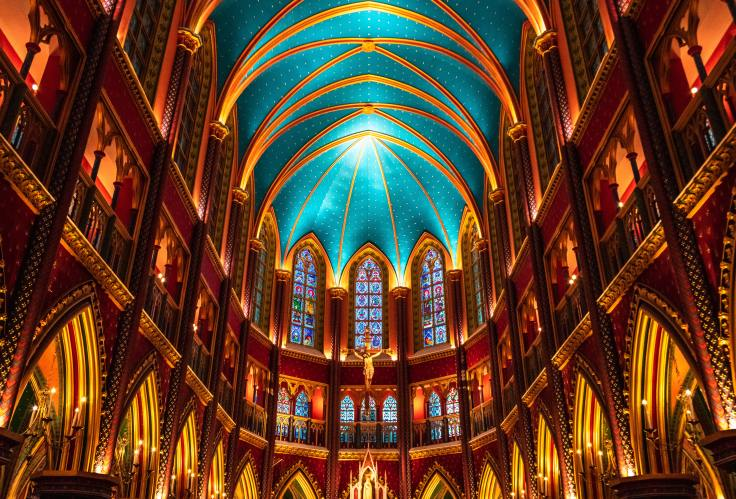 colorful hall of stained glass