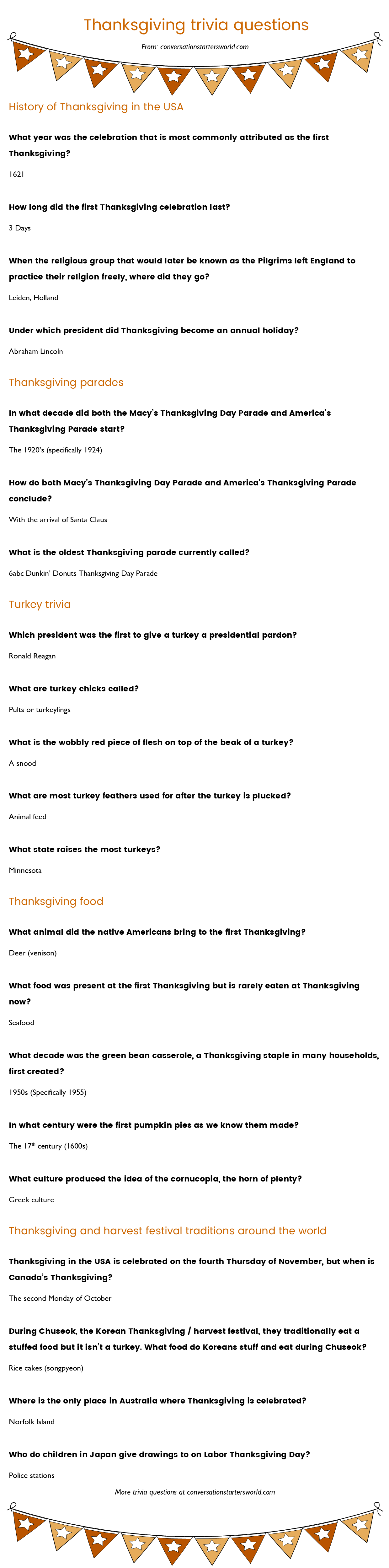 21 Thanksgiving Trivia Questions Most People Don T Know