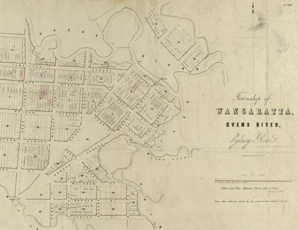 Survey map of Wangaratta by Smythe & Wedge 1857 courtesy State Library of Victoria. The King River runs north-south at the bottom of the map and the Ovens winds erratically across the top.