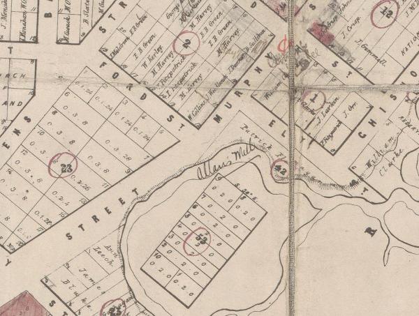Wangaratta township map 1857-1863 portion showing Allan's Mill
