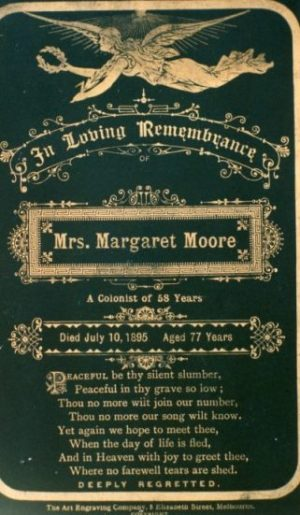 Margaret Moore memorial card