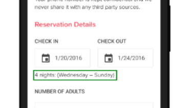 date picker details on mobile