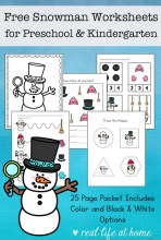 Free Snowman Worksheets for Preschool and Kindergarten Students