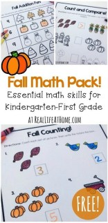 fall math worksheets printable packet