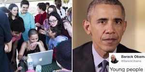 Obama sends a message that has young anti-gun Americans standing up and cheering