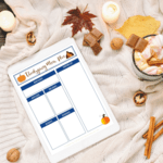 Thanksgiving menu planner flatlay