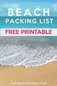 Beach packing list free printable