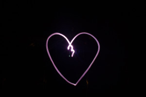 Light painted heart, the torch lens was coloured with a red pen