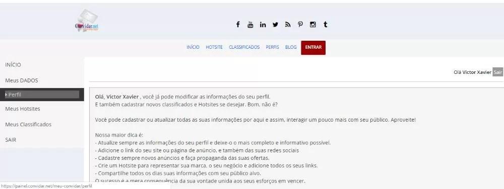 painel convidar.net meus dados-perfil