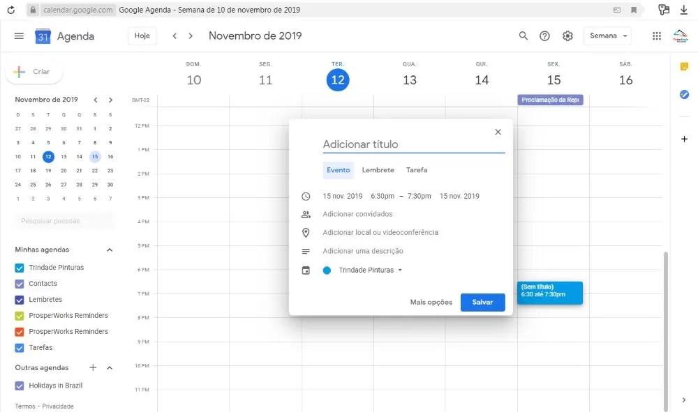 Google agenda cadastro de data