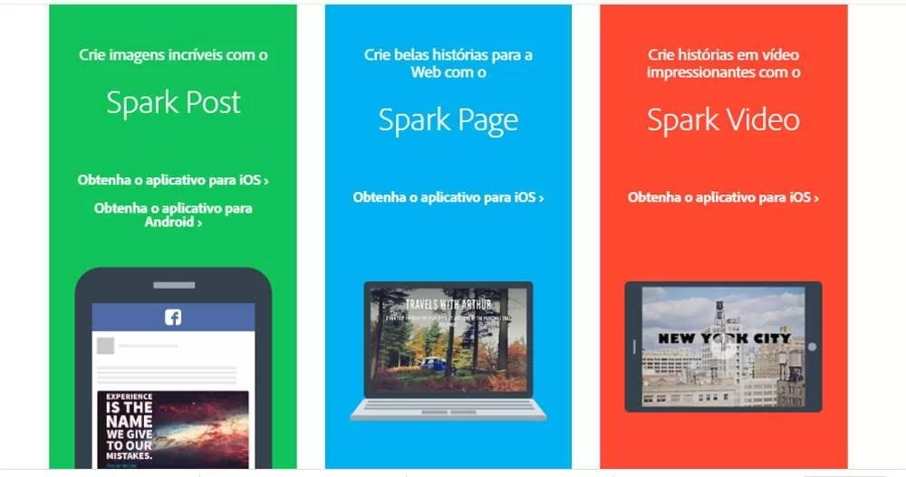 facilidades do Adobe Spark