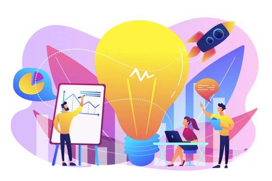 Por que trabalhar a identidade visual de uma empresa- brainstorm-de-equipe-de-negocios-lampada-e-foguete-visao-missao-empresarial-planejamento-de-negocios