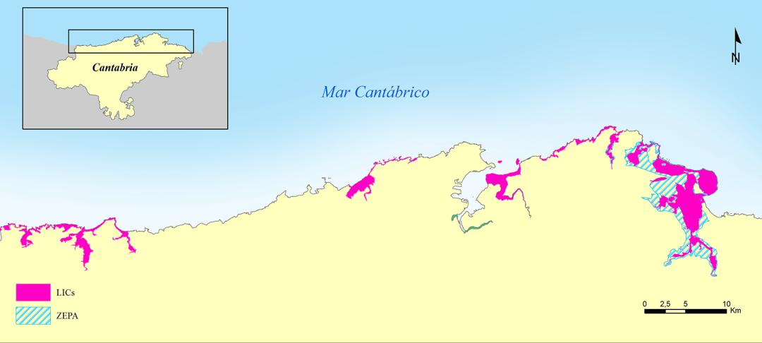 Mapa de distribución de LICs y ZEPAs