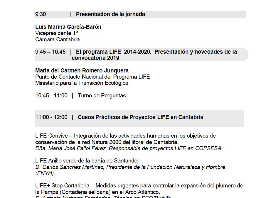 """Presentamos el proyecto CONVIVE LIFE y sus principales actuaciones en la """"Jornada Informativa sobre la convocatoria LIFE 2019"""" organizada por la Cámara de Comercio de Cantabria"""