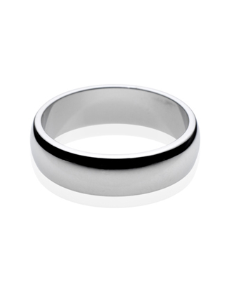 Platinum D Shape Wedding Band 6mm