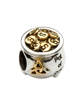 Silver Pot Of Gold Charm