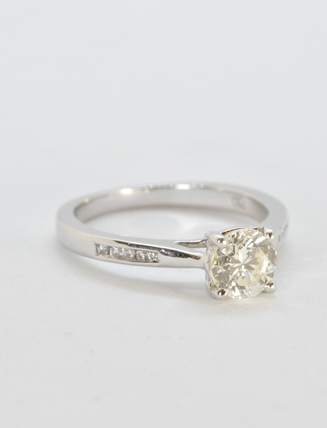 18K White Gold Diamond Engagement Ring .97 carat