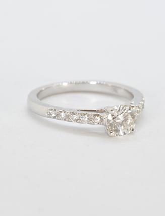 18K White Gold Diamond Engagement Ring .88 carat